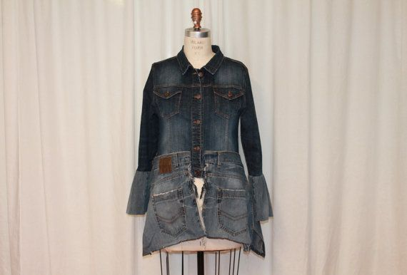 Upcycled denim top Large womens clothing Funky jeans by MilaLem