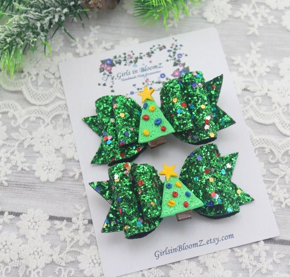 Christmas  green hair clips/Girls small hair bows/Christmas glitter hair bows/Set of 2 hair clips/Ch #hairbows