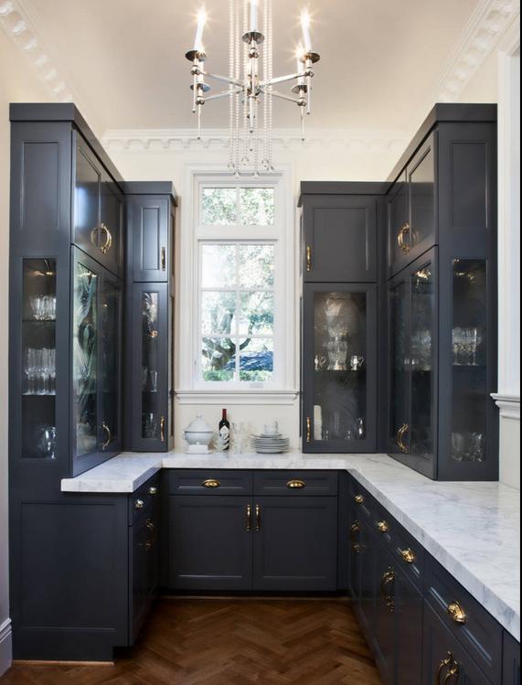 Dark Grey Cabinets with brass hardware!! YES!!!! | Kitchen ...