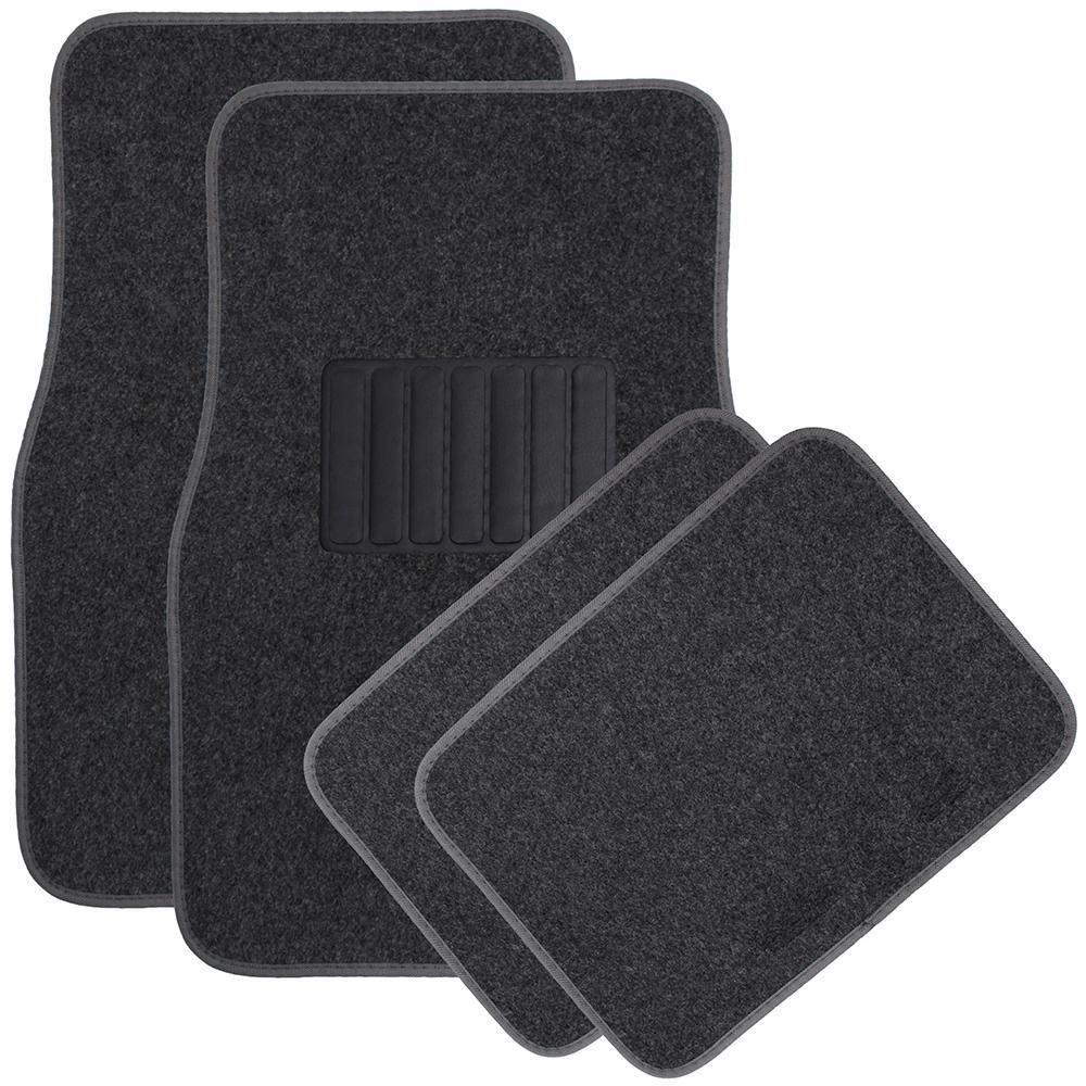 Solid Charcoal (Grey) 4Piece Carpet Floor Mat Universal