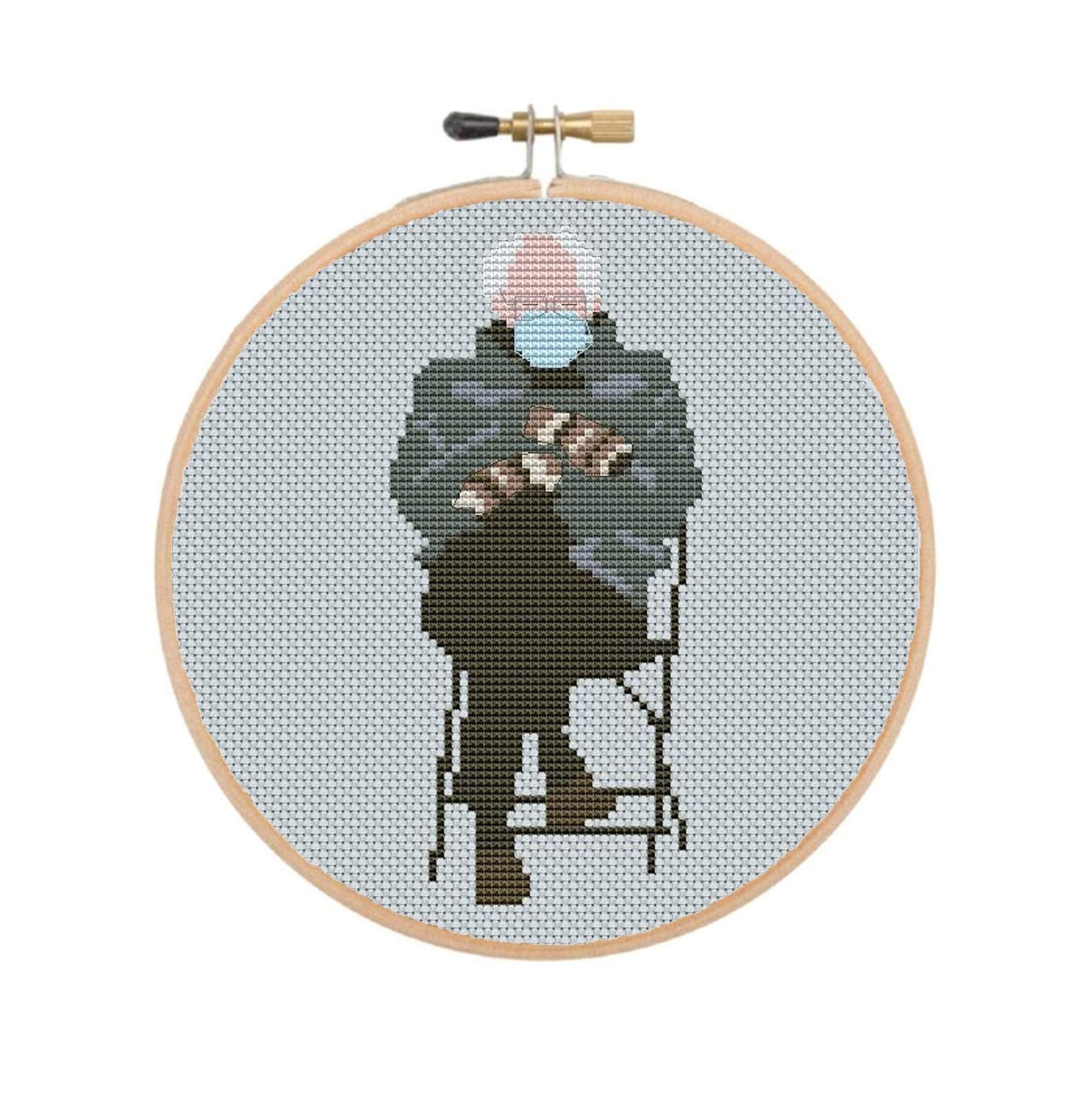 Inauguration Bernie Cross Stitch Pattern Bernie Sanders Etsy In 2021 Funny Cross Stitch Patterns Cross Stitch Patterns Stitch Patterns