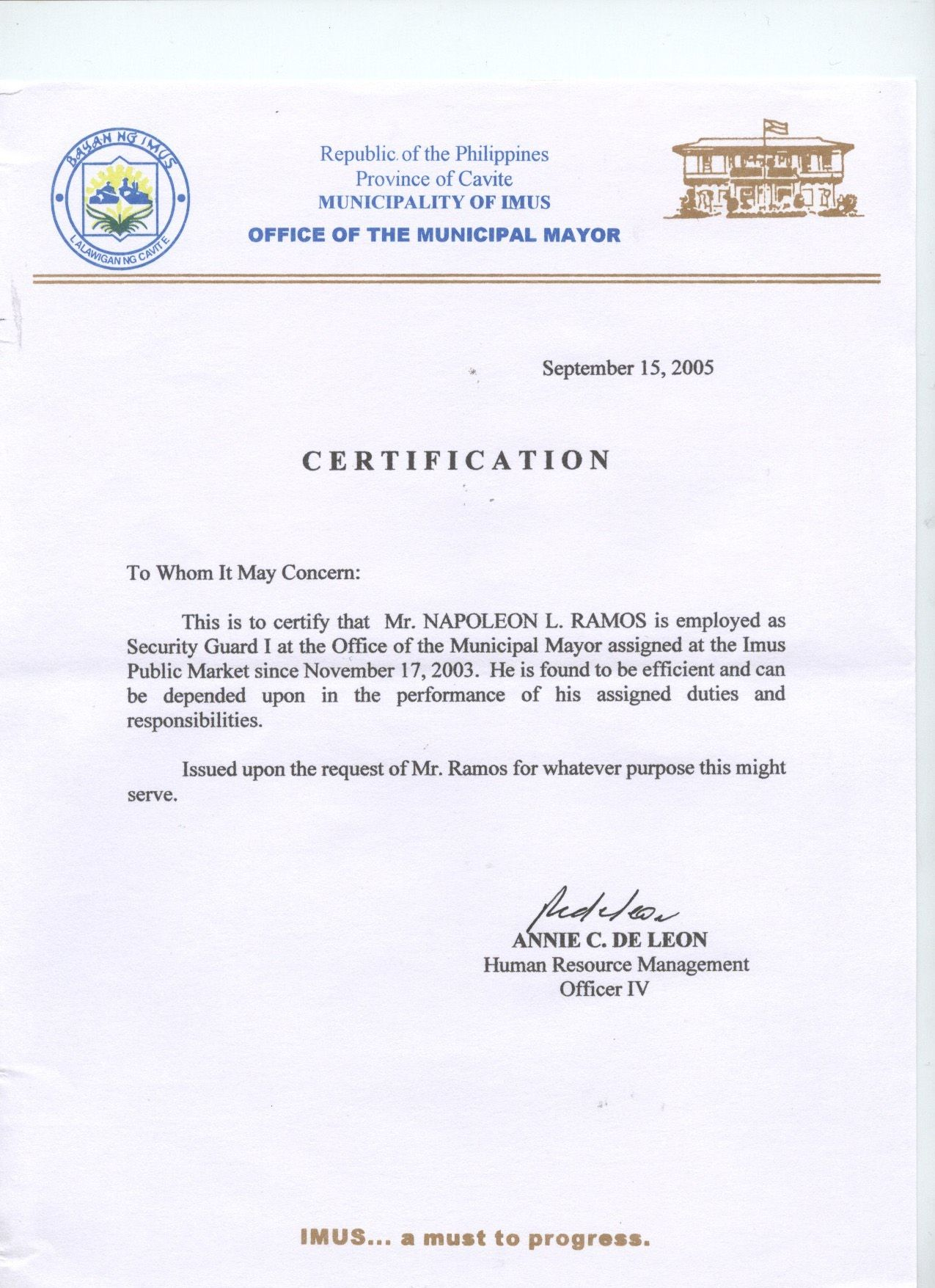 sample of employment certificate