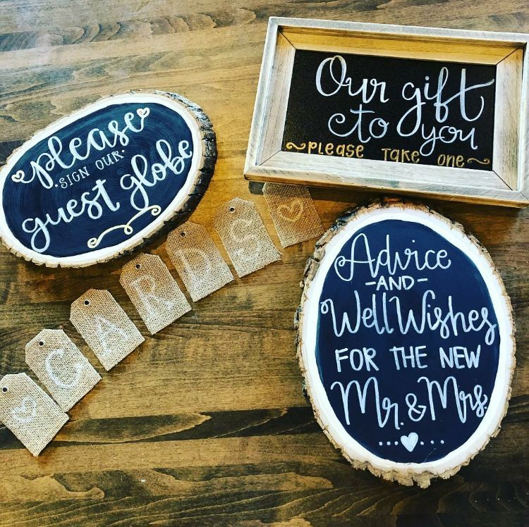 """Custom chalk signs and a """"cards"""" banner for our wedding. I ..."""