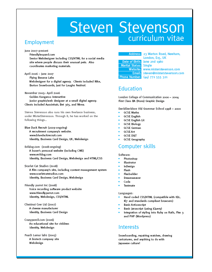 cv layout Create a Grid Based Resume/CV Layout in InDesign | Business