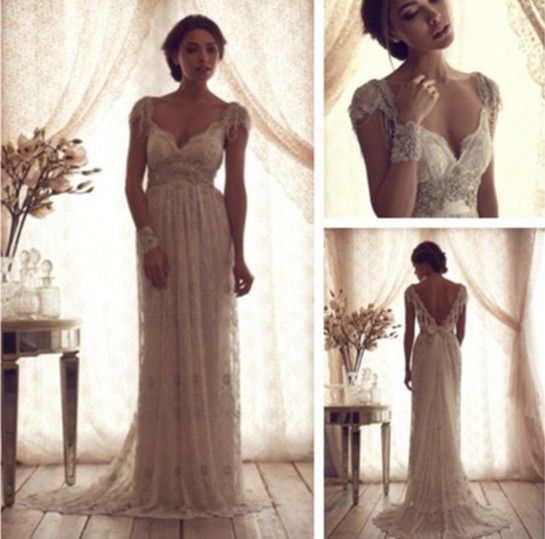 Luxury V Neck Anna Campbell Wedding Dresses Lace Crystal Beaded Brid Anna Campbell Wedding Dress Vintage Style Wedding Dresses Anna Campbell Wedding Dress Lace,Wedding Guest Maxi Dress With Sleeves