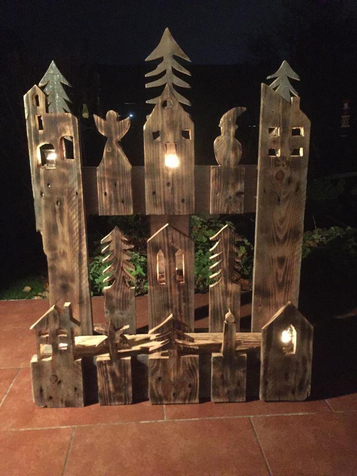 #garten Weihnachtsdorf aus Europalette – Wood Designs #palettendeko