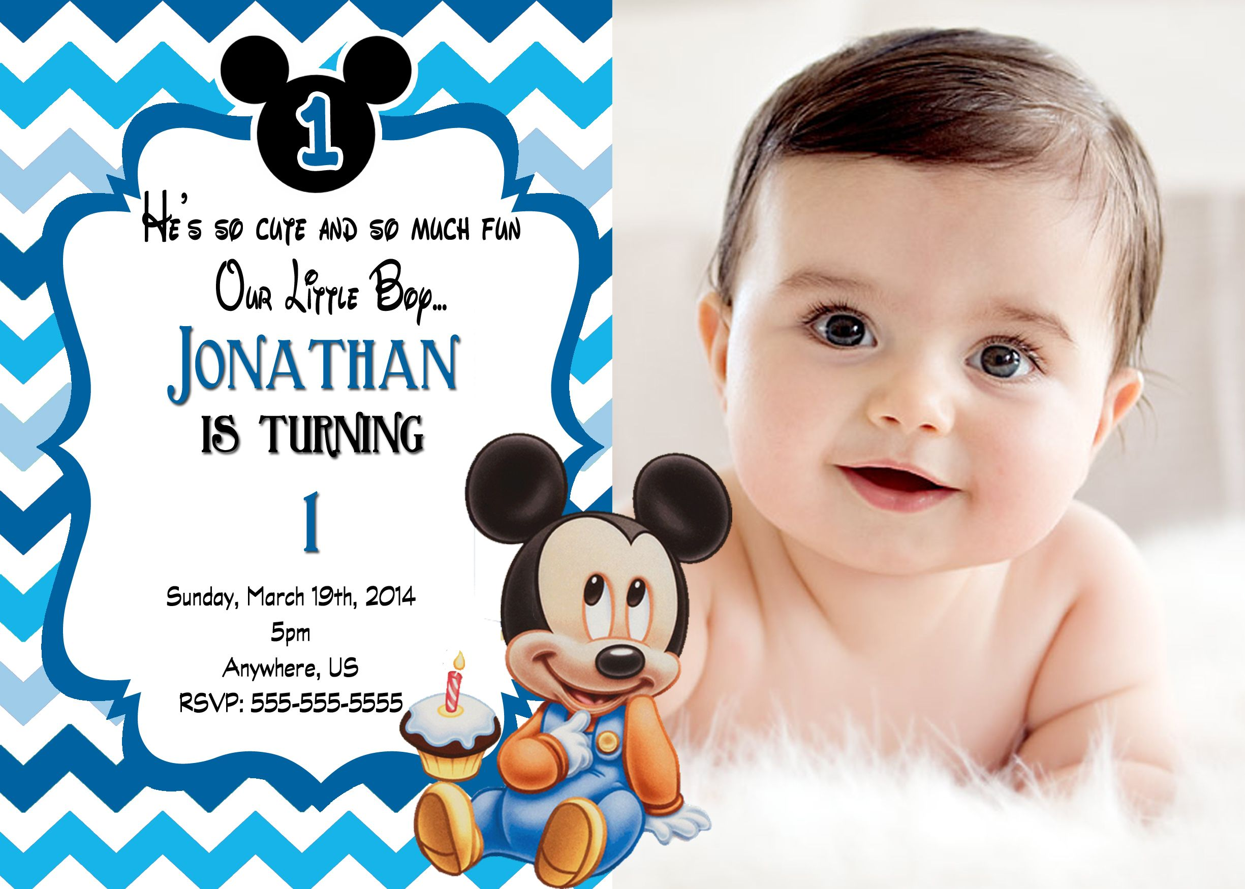 Baby mickey mouse 1st birthday chevron invitations 899 available baby mickey mouse 1st birthday chevron invitations 899 available at partyexpressinvitations filmwisefo