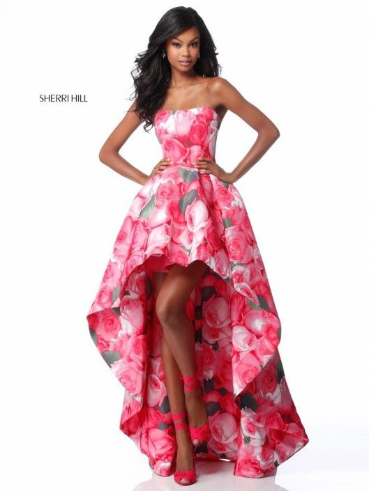 Style 51791 from Sherri Hill is a strapless floral print high low ...