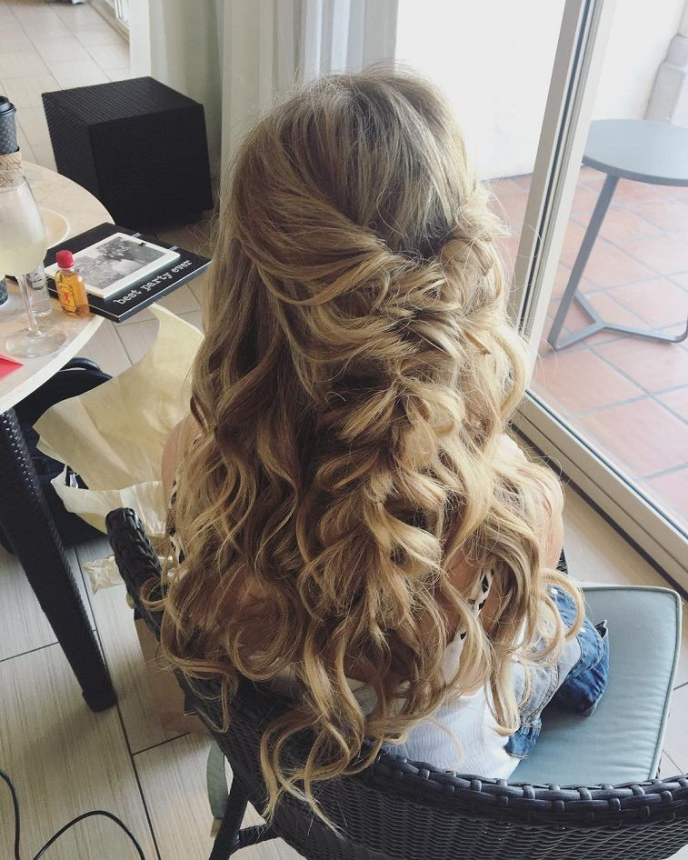 Half Up Half Down Braided Wedding Hairstyles: Beautiful Half Down Half Up Braided Hairstyle With Curls