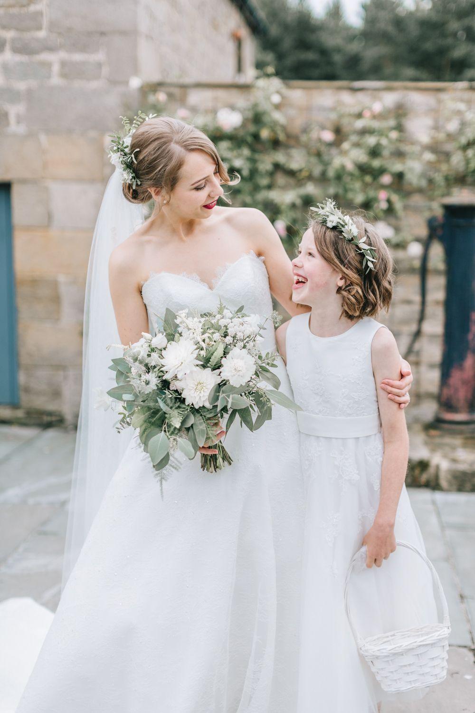 ef081b7fe Bride Bridal Dress Gown Lace Strapless A Line Skirt Flower Girl Healey Barn  Wedding Amy Lou Photography #wedding #flowergirl #flowercrown