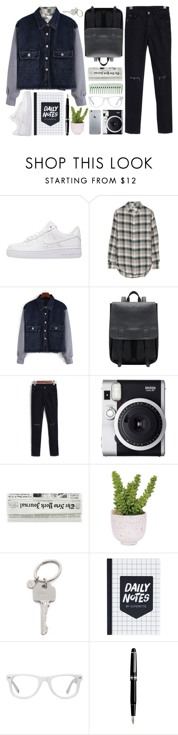 """Hidden"" by alexandra-provenzano ❤ liked on Polyvore featuring NIKE, Band of Outsiders, Fuji, Lux-Art Silks, Paul Smith, Muse and Montblanc"