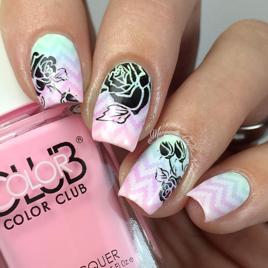Gradient nail art using Color Club Poptastic Pastel Neons and some stamping with JQ-L plate10 and Z106 from Born Pretty Store. Roses