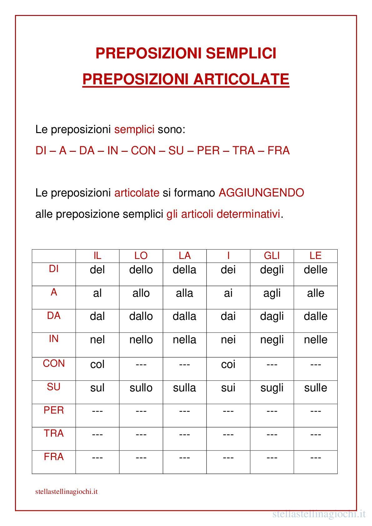 Schede Didattiche Di Italiano Preposizioni Semplici