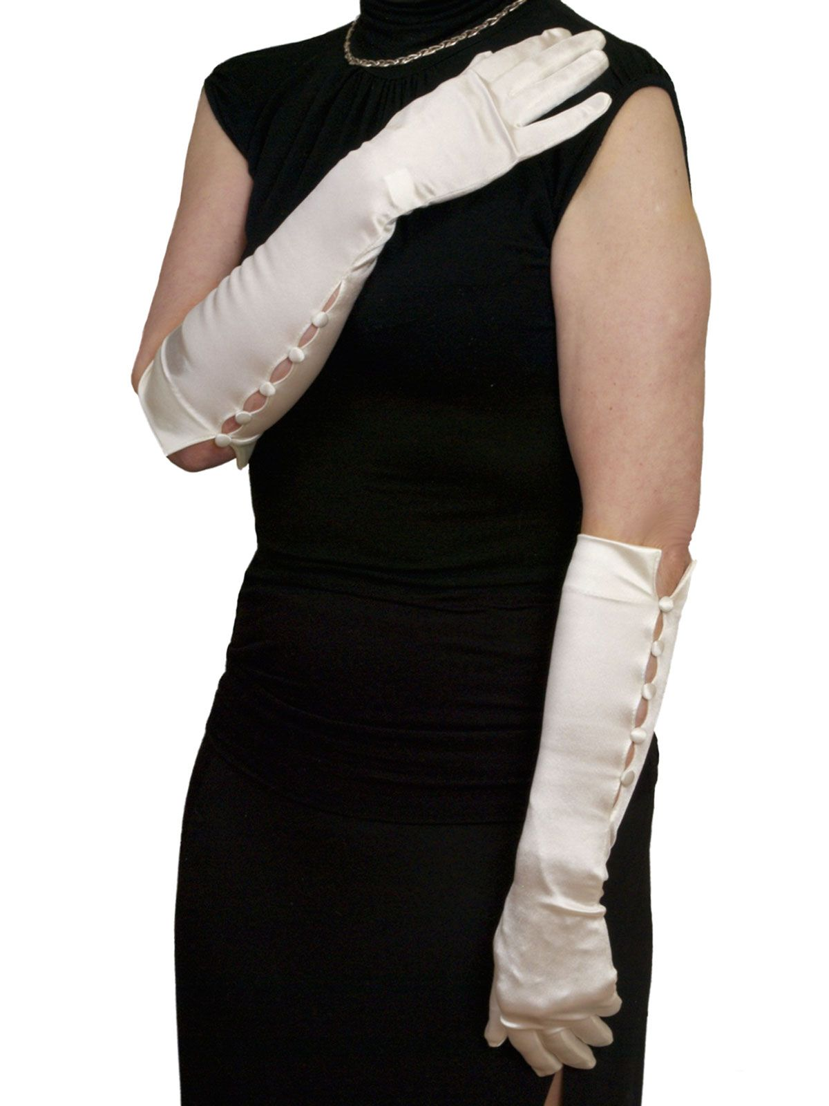 Black gloves evening wear - Dents Long Satin Gloves Length So Elegant Elbow Length Evening Dress Gloves In Fine Stretch Satin Featuring 5 Button On The Outer Seam In Black White