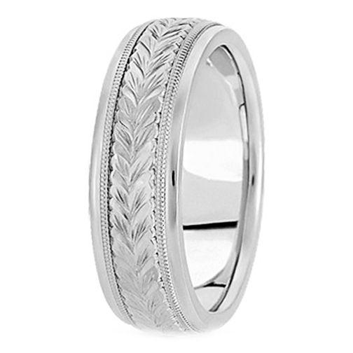 14k White Gold 4 5 Mm Men S Antique Wedding Ring Mdcdiamonds