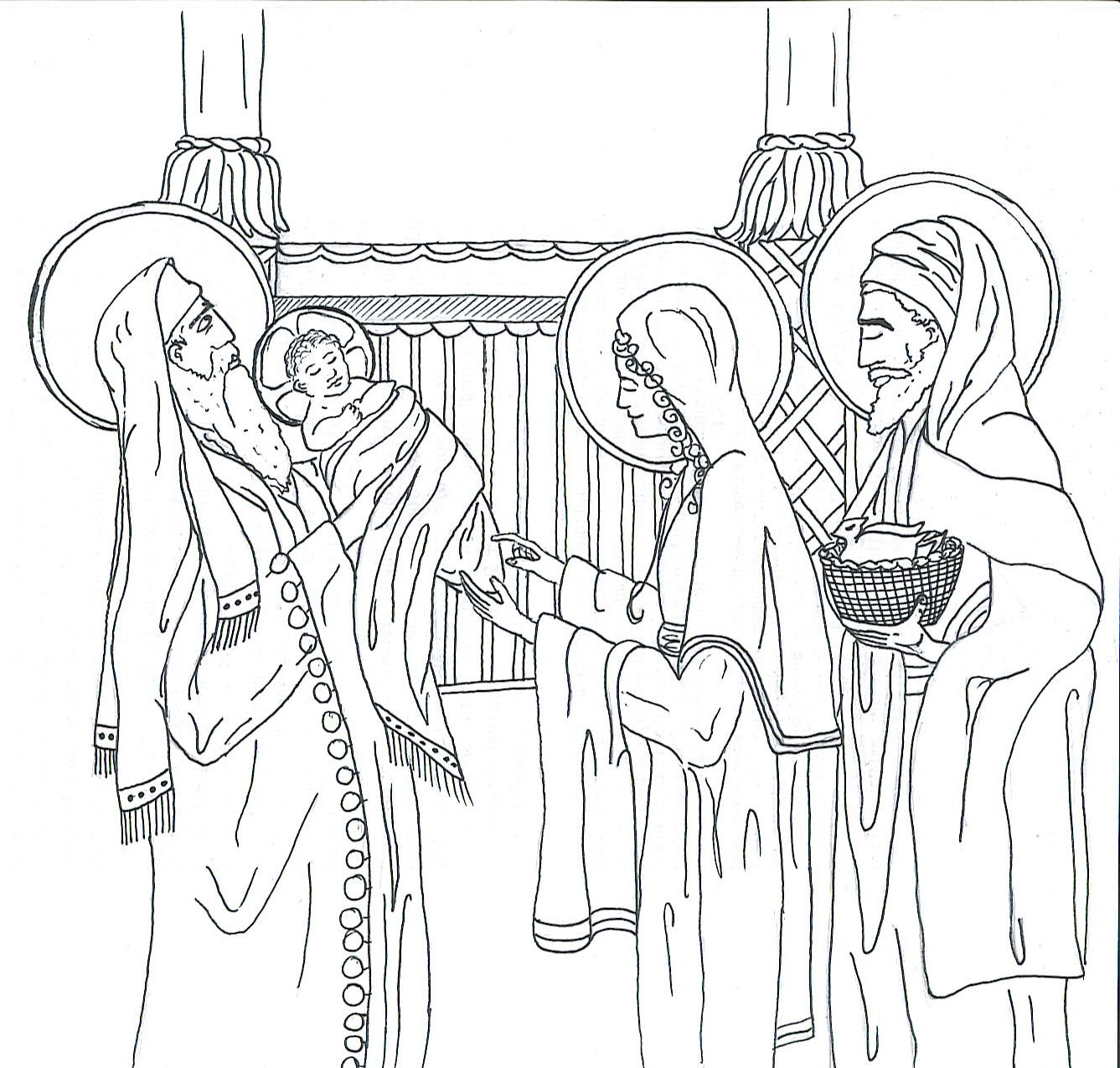 Colouring pages for epiphany - Catholic Coloring Page For Kids Of The Presentation In The Temple