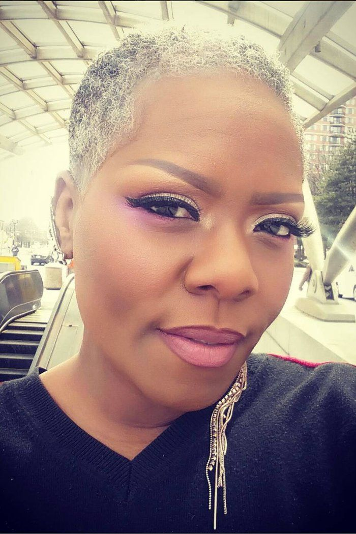 beautiful black woman with gray
