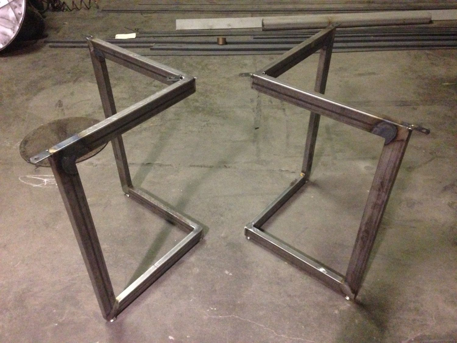 Chevron Metal Dining Table Base Legs