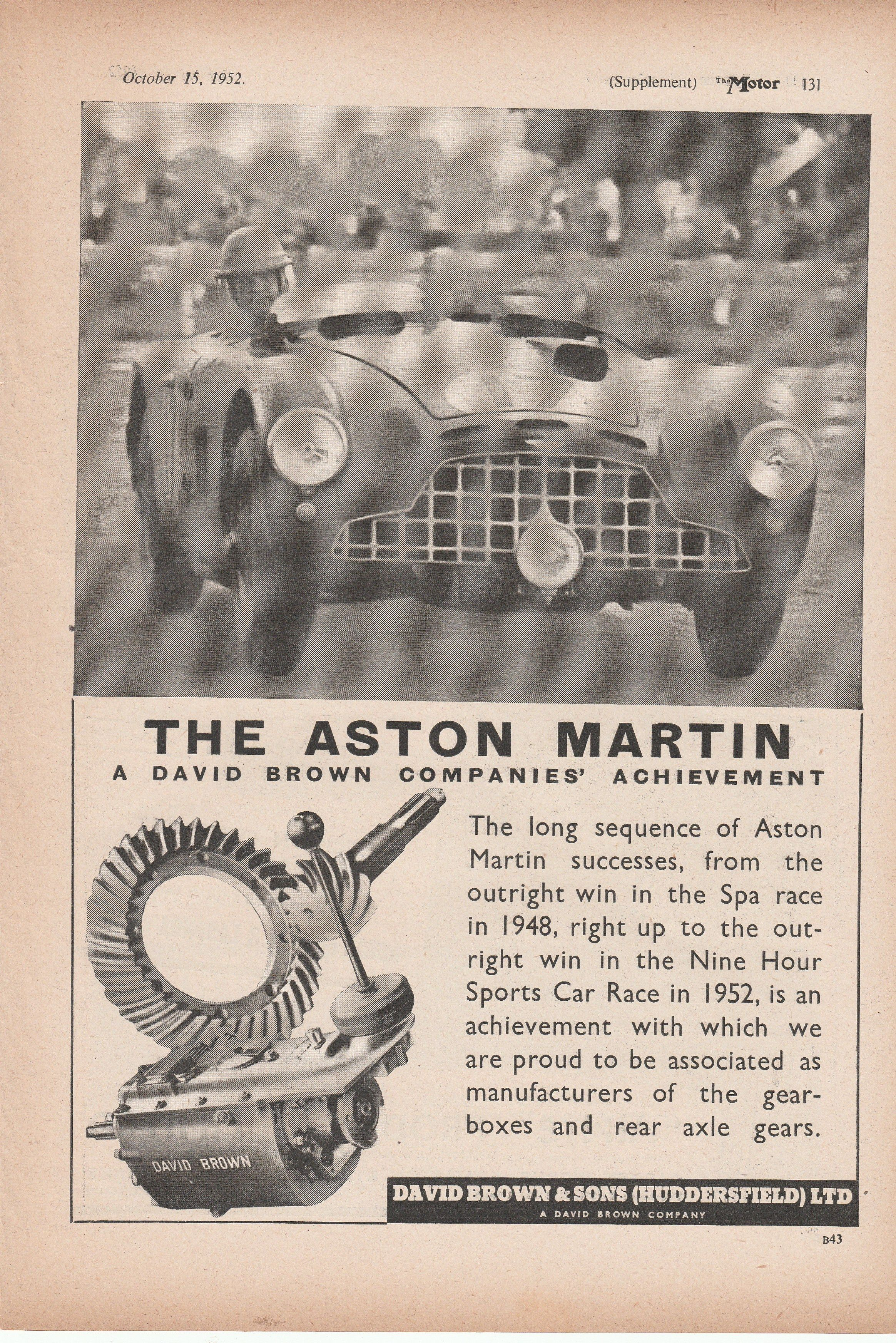 1952 Aston Martin - A David Brown Companies\' Achievement - vintage ...