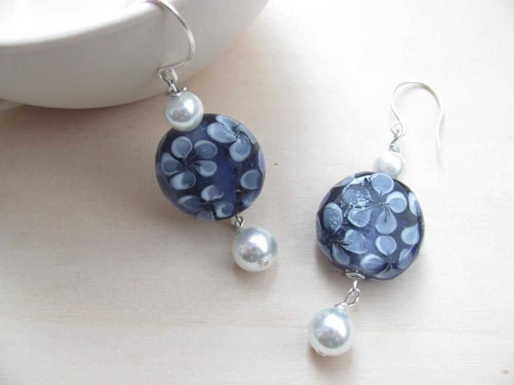 The Blue Flower Earrings. #earrings