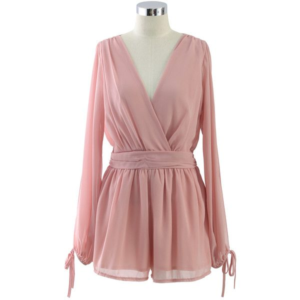 Chicwish Fragrance Pink Slit Sleeves Playsuit ($45) ❤ liked on Polyvore featuring jumpsuits, rompers, pink, long sleeve rompers, long rompers, pink romper, chiffon romper and playsuit romper