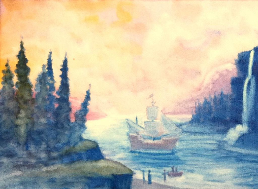 Wet-on-wet watercolor  by Dr. Rick Tan of Syrendell. Columbus coming to America - Grade 7 Explorers Block Waldorf - The Waldorf Way blog