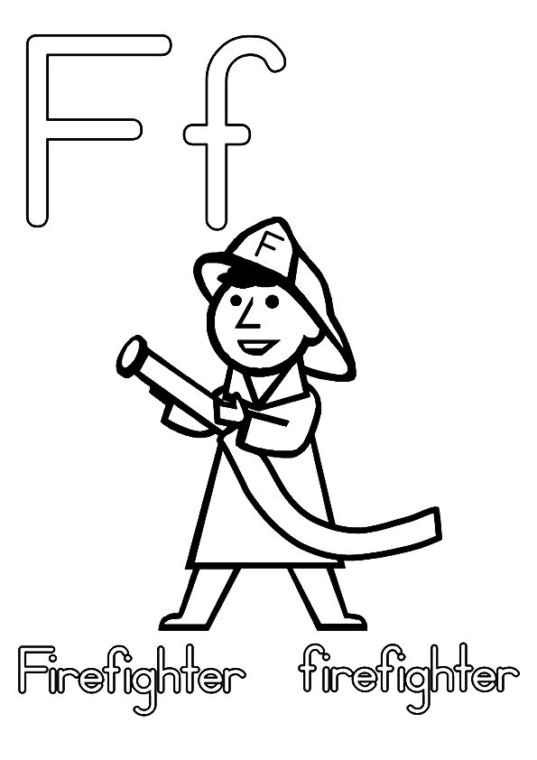 Print Coloring Image Momjunction Firefighter Letter F Fire Safety Preschool