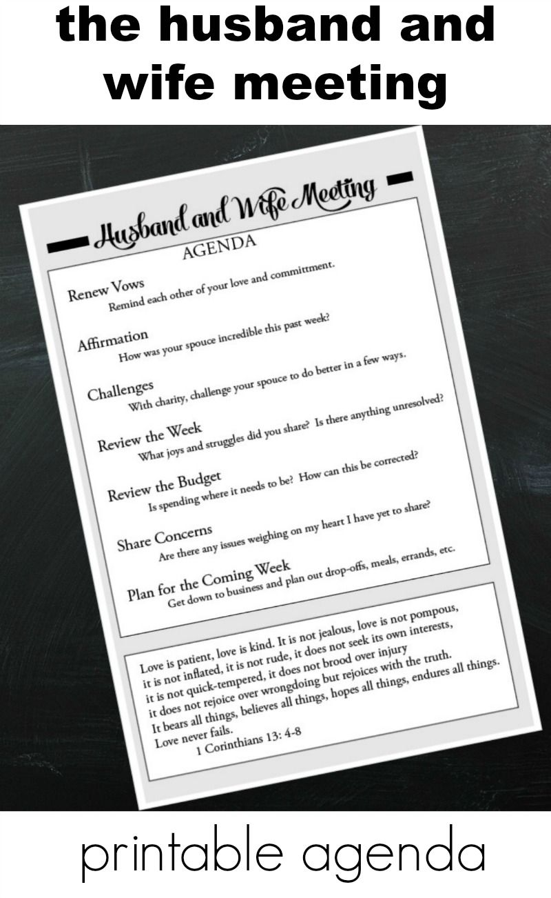 Husband And Wife MeetingPrintable Agenda  Met Change And