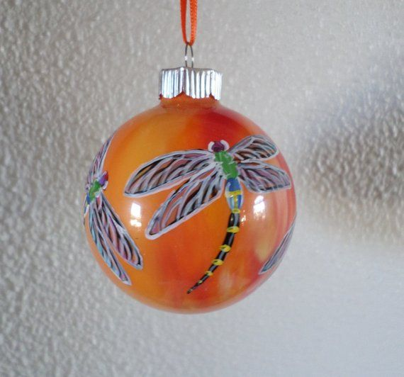 hand painted ornament, Dragonfly ornament, orange Christmas ornament