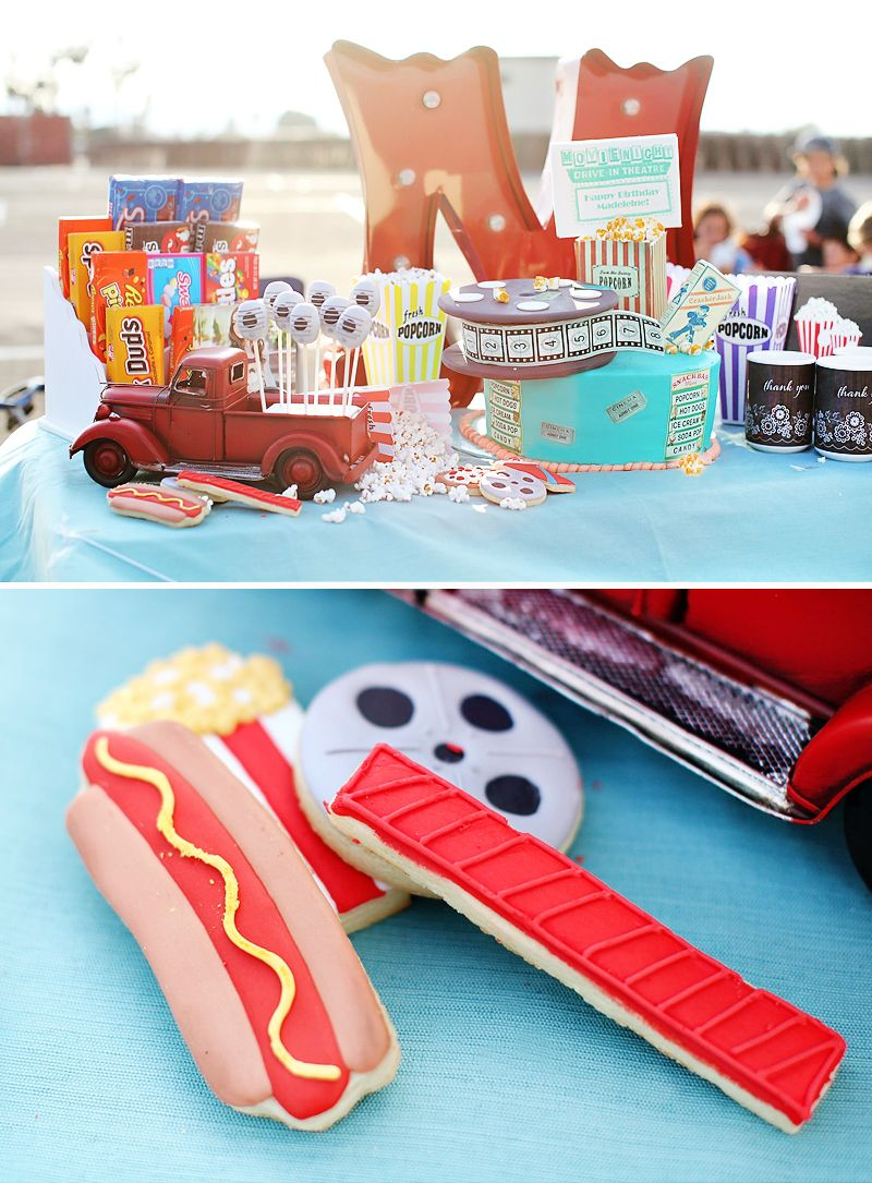 Creative vintage drivein movie 12th birthday party