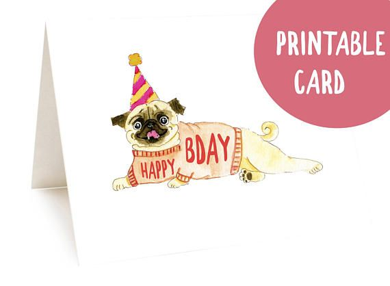 Pug Card Printable Funny Dog Birthday Instant Download Handmade Happy Cute