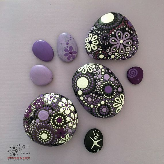 Rock Art, Painted Rocks, Natural Home Decor, Mandala Design, Unique Gift, Paperweight, purple gloaming Trio collection #27