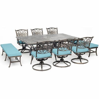 Canora Grey Robicheaux 9 Piece Dining Set With Cushions Cushion Color Blue Patio Dining Set Dining Set Outdoor Furnishings