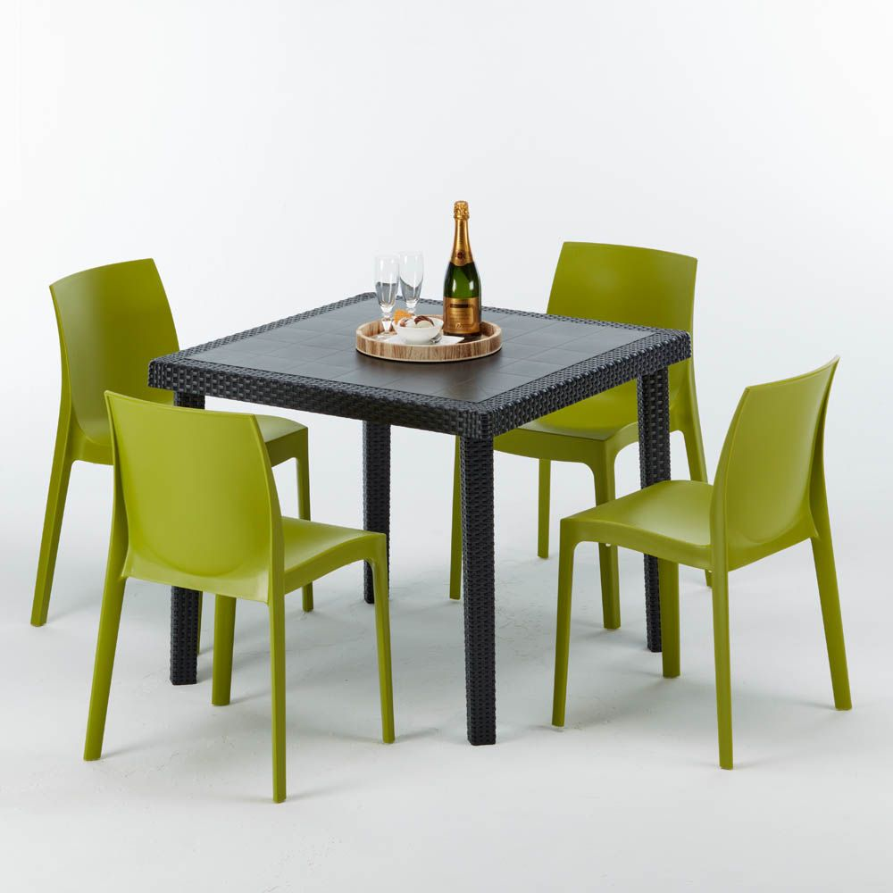 Table Carree Et 4 Chaises Poly Rotin Resine Bar Bistrot Cafe