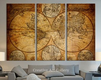 Vintage world map canvas print large world by extralargewallart vintage world map canvas print large world by extralargewallart gumiabroncs Image collections