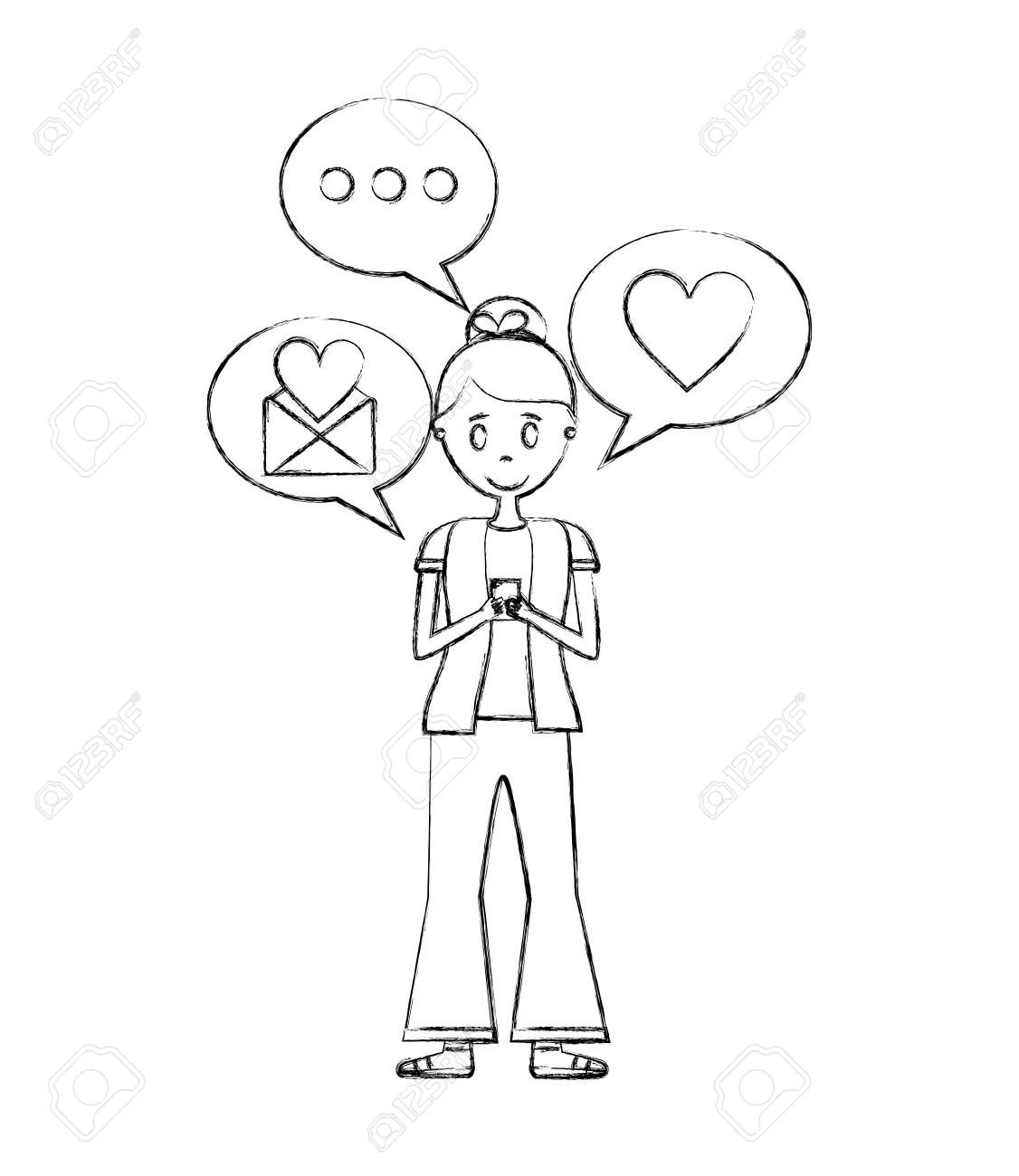 woman with smartphone chatting love message speech bubbles vector illustration hand drawing
