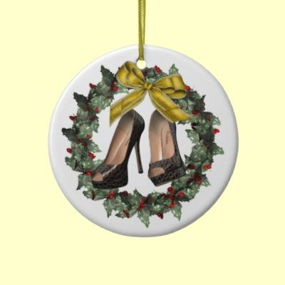 Crocodile Print Stiletto Shoes & Wreath Double sided personalized Ornament! Great gift for shoe lover! Back reads Merry Christmas and the Year! #Stilettos #Shoes #Ornament
