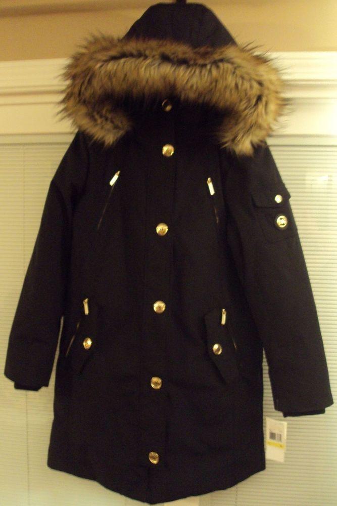 4759cd41dede6 NWT MICHAEL KORS MK Signature Parka Faux Fur Down Coat Jacket SIZE S M MSRP   448  MichaelKors  Parka