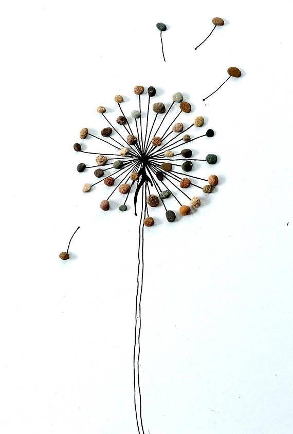Ein Steinbild – Pusteblume – Pebble Art Ein schönes Geschenk für jeden Anlaß,… #uniquecrafts