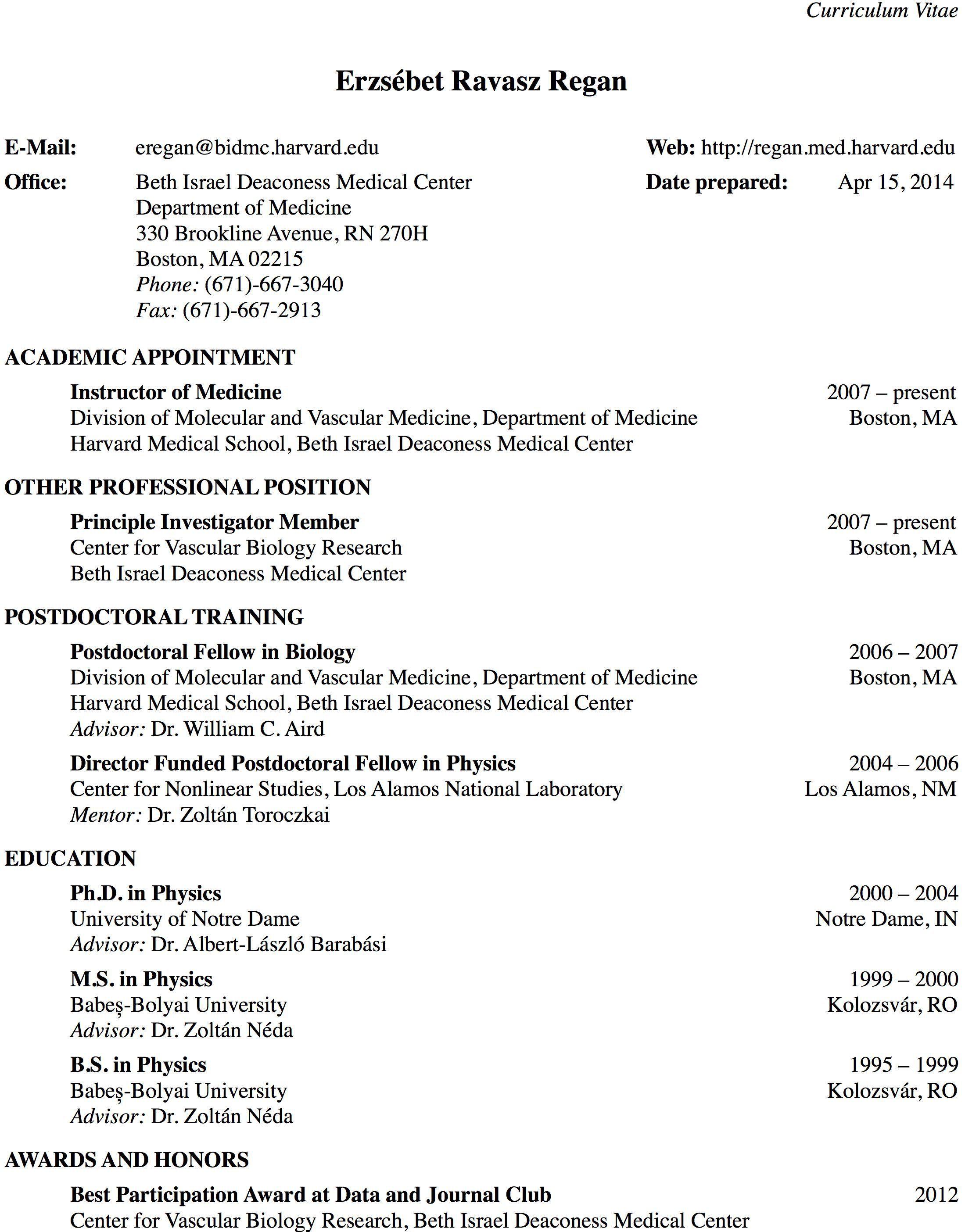 Cv template harvard harvard medical school academic cv