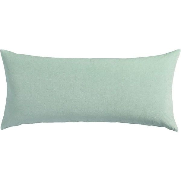 "CB2 Leisure Mint 16""X36"" Pillow With Down-Alternative Insert (45 CAD) ❤ liked on Polyvore featuring home, home decor, throw pillows, pillows, cb2, oblong throw pillows, green toss pillows, white accent pillows and green accent pillows"