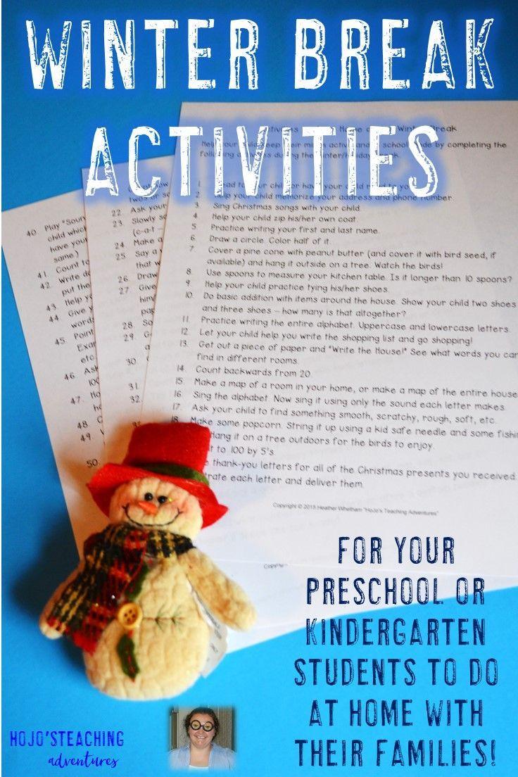 winter break homework for preschoolers