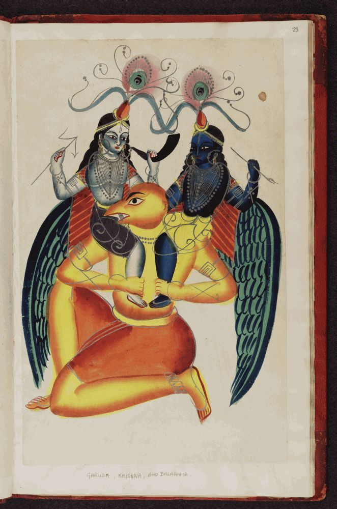 Kalighat pictures   Garuda Vishnu's bird mount with Krishna