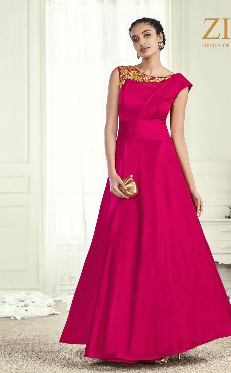 partywear #gowns   embroidered top   pink gown     indian