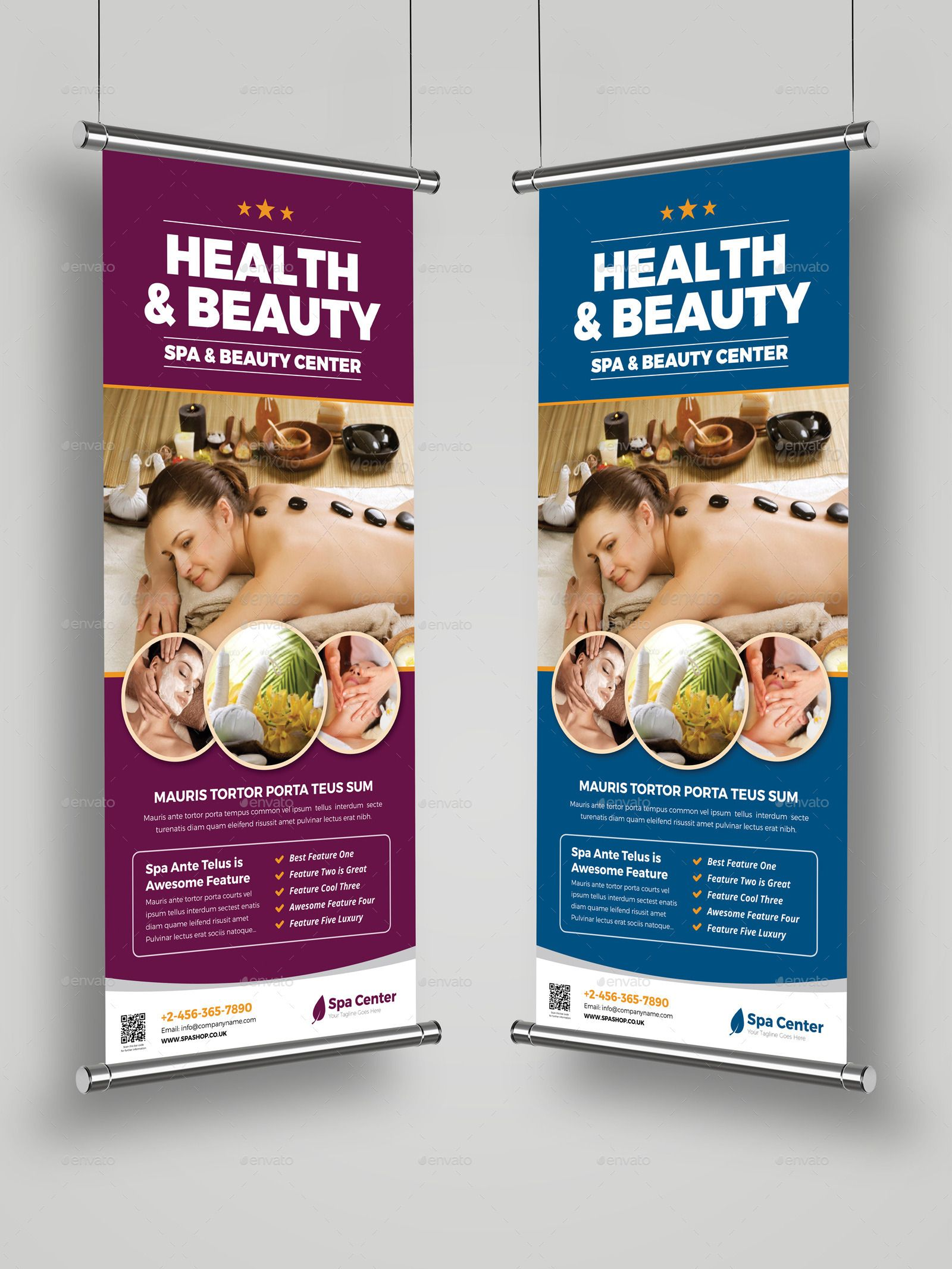 Spa Beauty Roll Up Banner Signage Indesign Affiliate Roll Ad Beauty Spa Indesign Folletos Disenos De Unas Terapia De Masaje