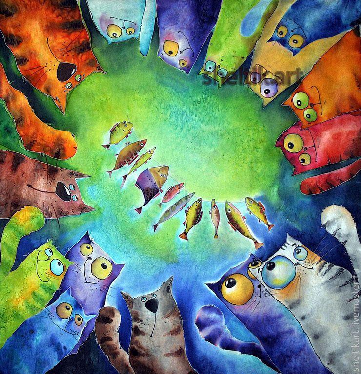 Коты на батик