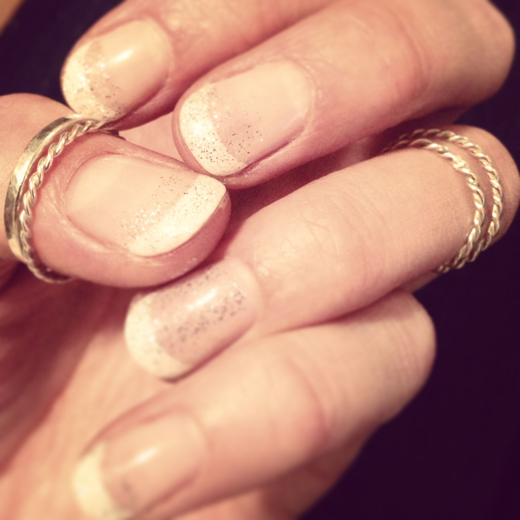 French Polish White Tipped Sparkle Gel Nails with Chelsea Rose ...