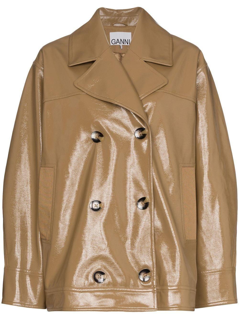 Ganni Boxy Fit Double Breasted Jacket Farfetch Double Breasted Jacket Double Breasted Leather Jacket [ 1334 x 1000 Pixel ]