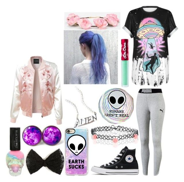 """""""Tumblr Girl"""" by marythedemon ❤ liked on Polyvore featuring WithChic, Converse, Accessorize, Casetify, Hot Topic, Disturbia, Lime Crime, Cult Gaia and LE3NO"""