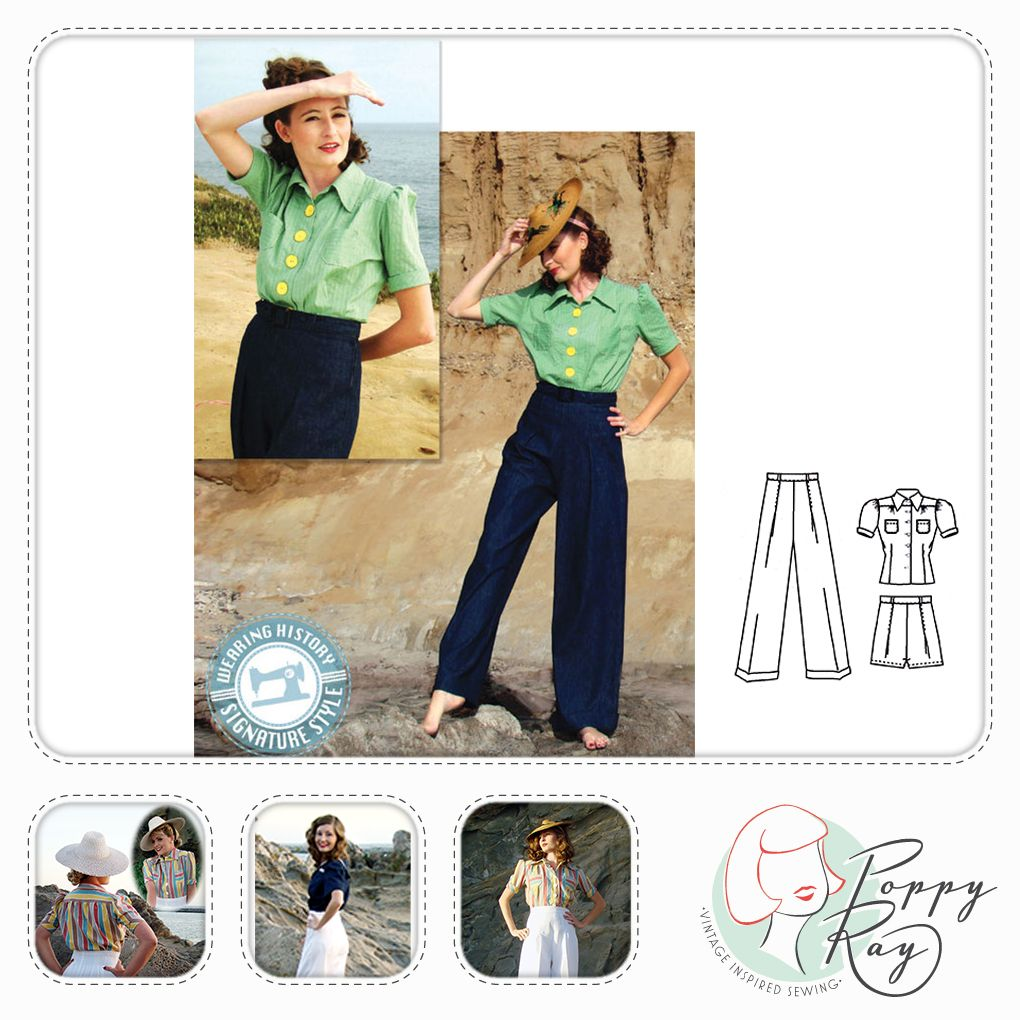 Wearing History paper pattern Smooth Sailing pants and blouse  b6bbb3e6335